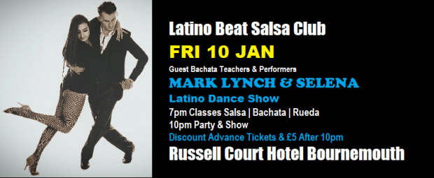 Latino Beat Party 2019 Jan 10 Banner Mark Lynch & Selena cropped